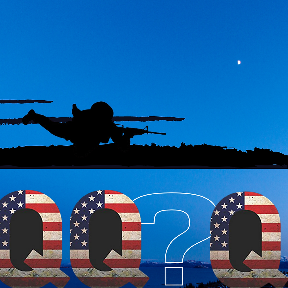 Night time blue background, forgrounded at the bottom third by a series if capital letter Qs patterned with the American stars and bars. Amid them is a transparent white outlines question mark. Above, sprawled on a ground of black, is the silhouette of a sniper.