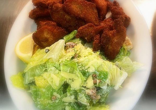 Dry ribs and caesar salad