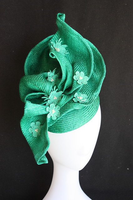 pink lane hats emerald green freeform hat with leather flower detail