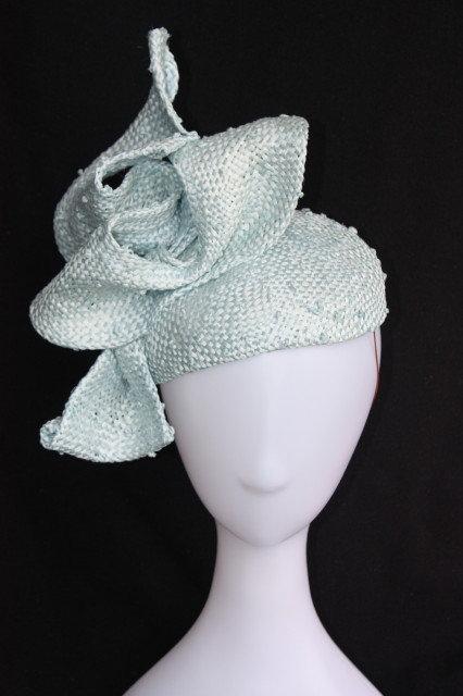 Ice Blue freeform bow teardrop hat