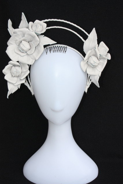 Mickayla Roses headpiece in Pale Stone Grey