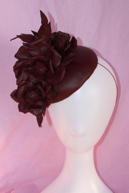 Rich Burgundy Leather Roses Teardrop