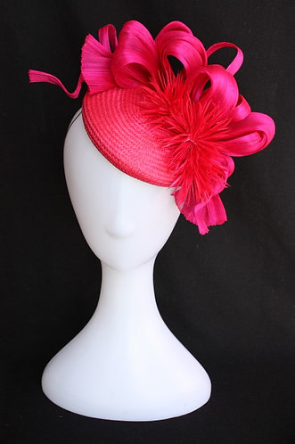 Hot Pink Button Hat with feather dahlias