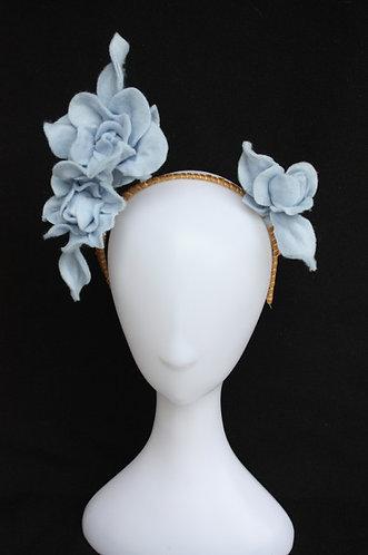 Cressida Felt Flower headpiece in pale blue