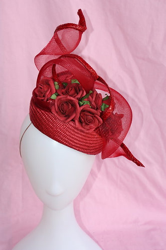 Deep Red Percher hat with crin swirl and roses