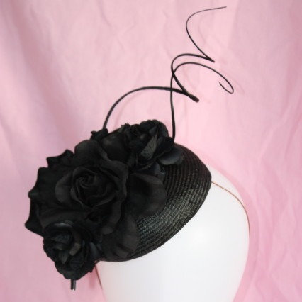 Black Pillbox with roses and quills