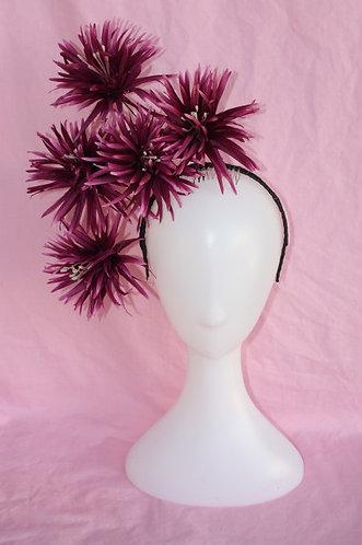 Deep Purple and black spiked flower headpiece