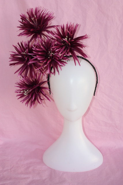 Deep Purple and black spiked flower headpiece