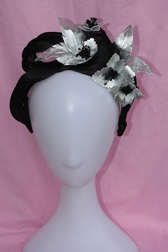 Black Turban with silver flowers