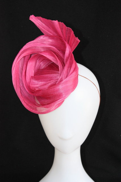 Rose Pink Silk scroll headpiece