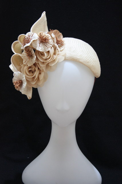 Pale Nude floral band hat