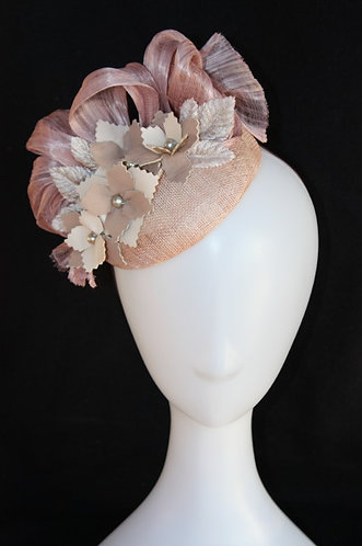 Nude Tones Button Hat with leather flowers