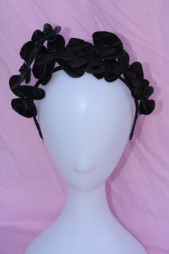 Black Patent leather Orchids headpiece