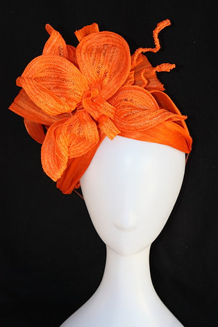 Orange Braided Flower Turban
