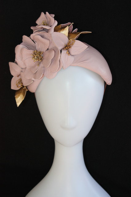 Dusty Pink and gold leather 'Sutton' band hat