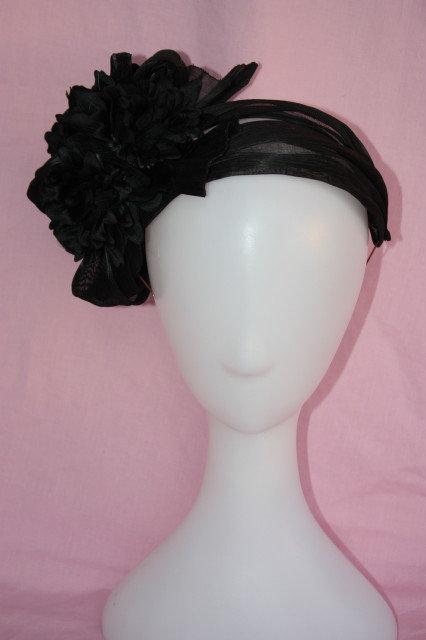Black silk-straw headpiece with chrysanthiums