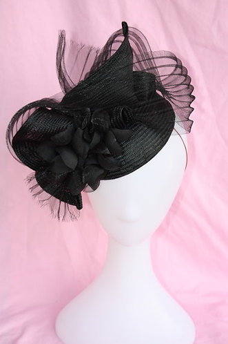 Black Freeform hat with pleated Crinoline