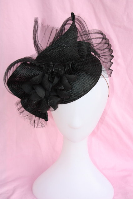 Black Freeform hat with pleated Crinoline