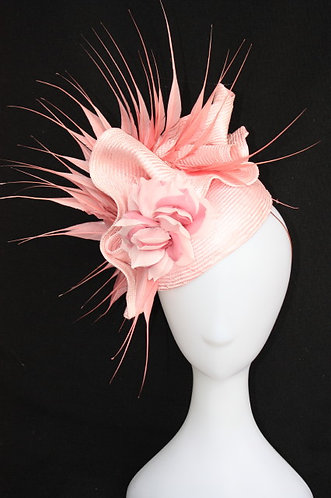 Pale Pink Ruffle Hat with spiked feathers