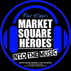 retro logo in a circle INTO THE MUSIC .p