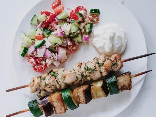 No-Barbecue Grilled Chicken Souvlaki & Mediterranean Veggie Skewers