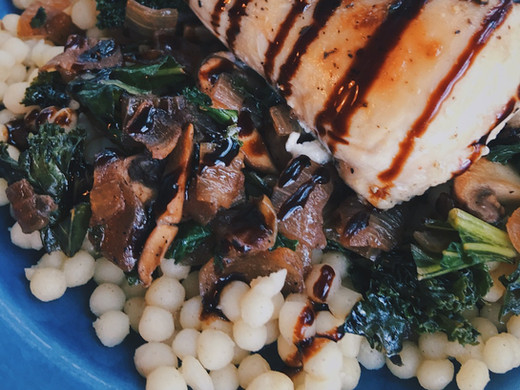 Sautéed Kale & Mushrooms w/ Balsamic Glaze