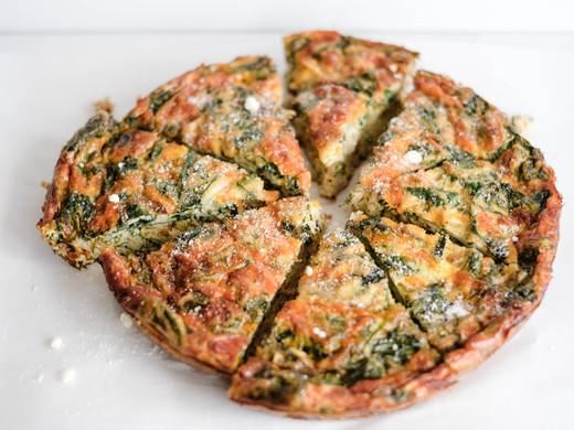 Spinach & Cheddar Crustless Quiche