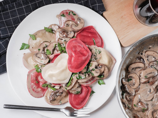 Valentine's Day Ravioli in Creamy Mushroom Parmesan Sauce