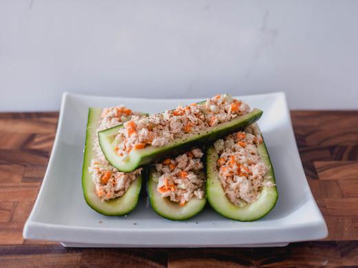 High Protein Tuna Cucumber Boats
