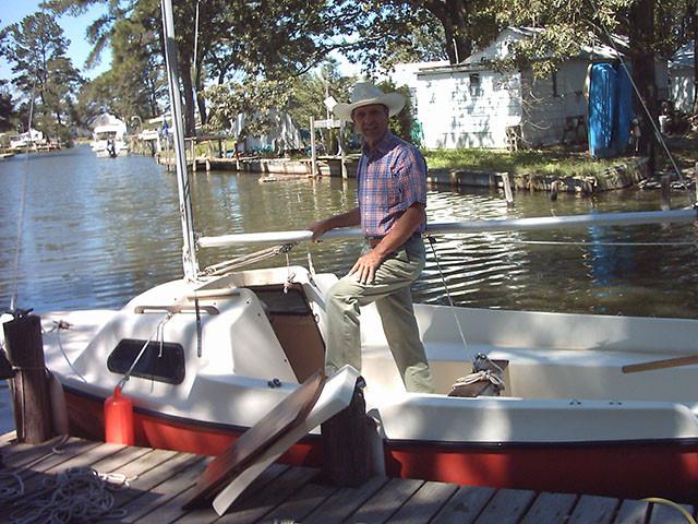 Dad on sailboat at dock, 2008