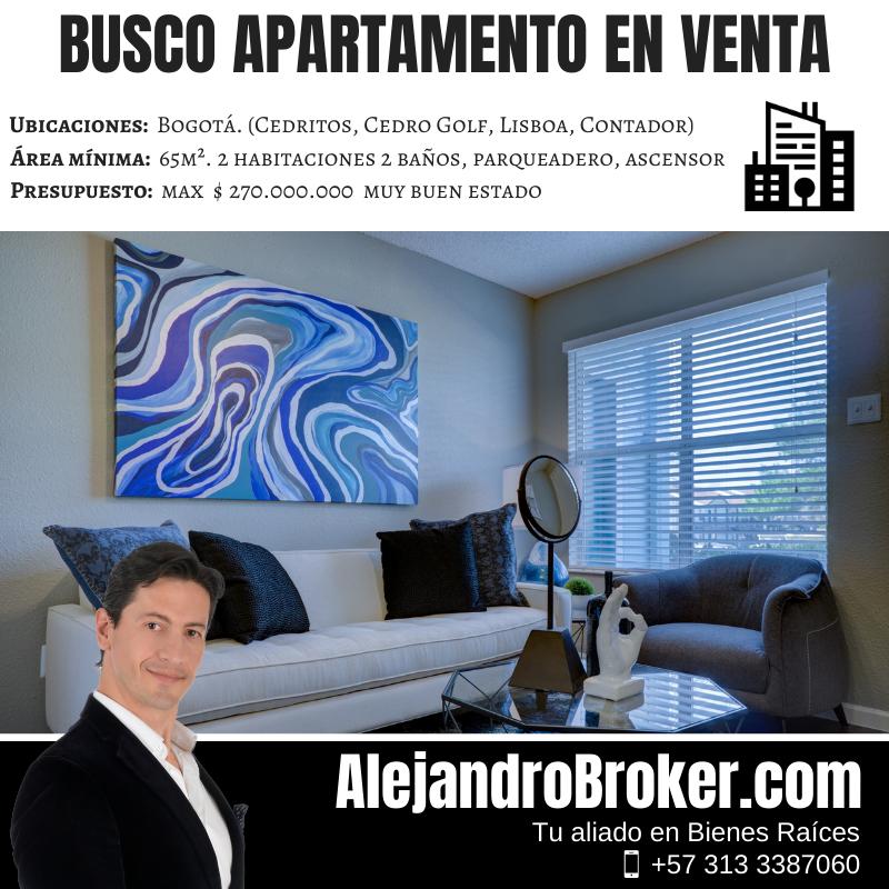 Busco Apartamento en Venta - 2 Alcobas 2 Baños Garaje Ascensor - Cedritos
