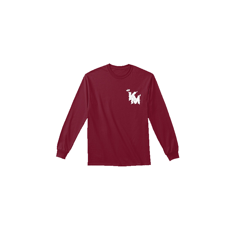 White Logo Cardinal Red LS