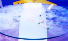 Mange-debout lumineux avec de la glace carbonique, en location pour événement, Gamme Slide.