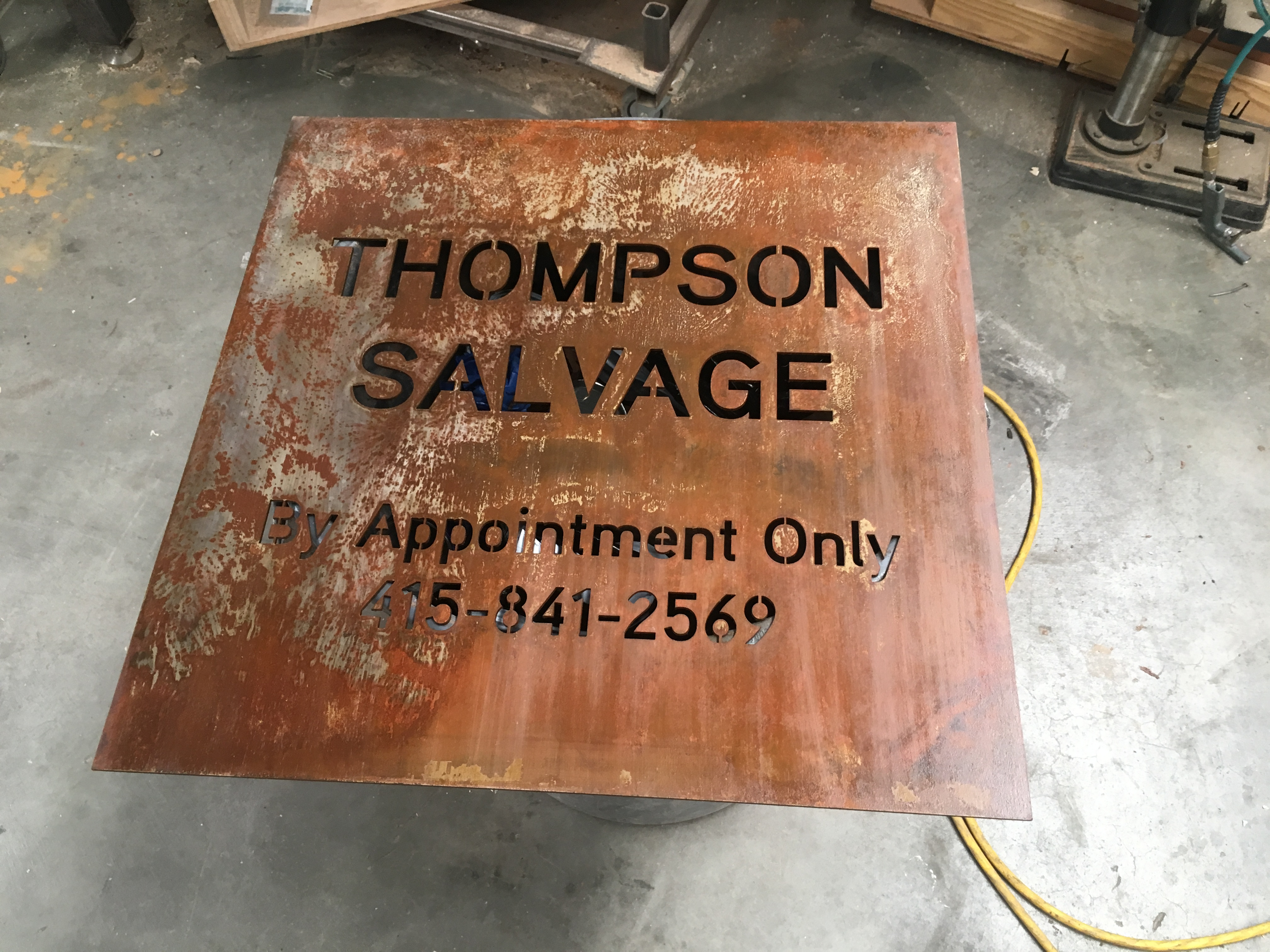 metal sign cut with water jet