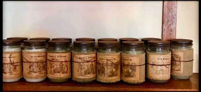 Our candle selection from Ye Country Mercantile. The New England Buttery is the best seller!