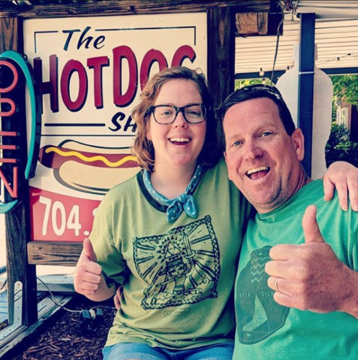 Bob and Emily enjoying the Hotdog Shack