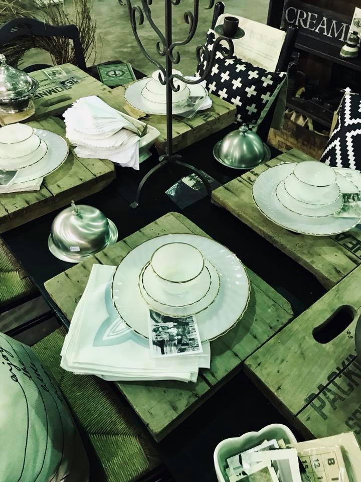 Milk glass and crate placemats