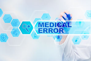 Medical doctor drawing medical error on