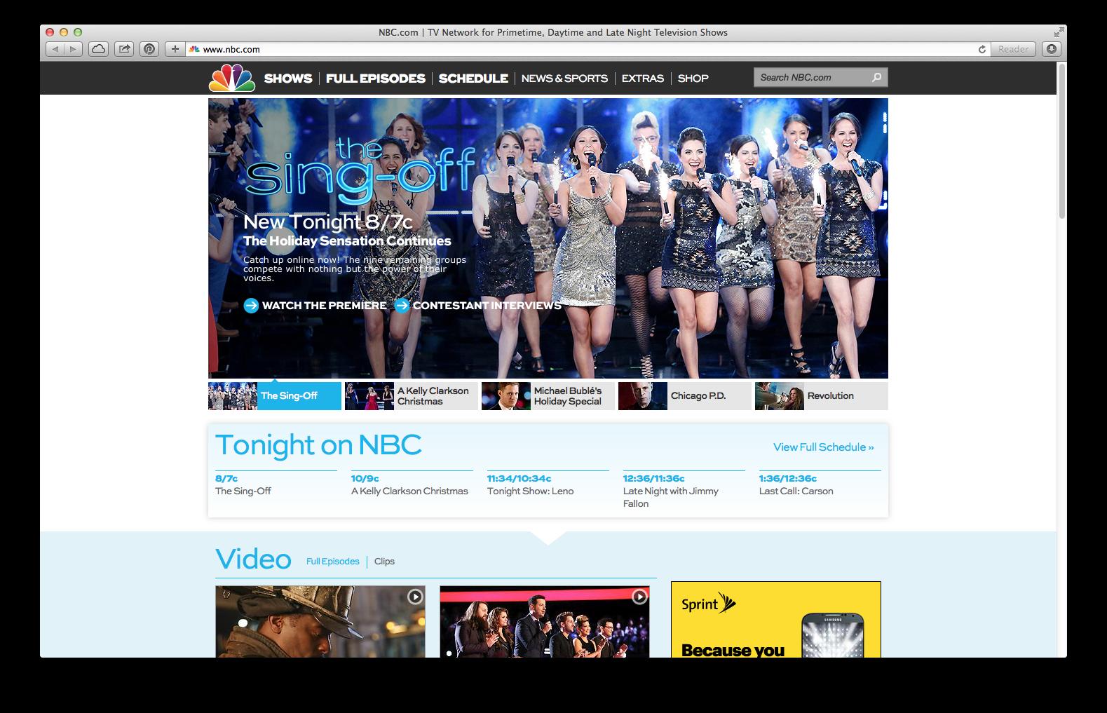 Boom. NBC.com homepage.