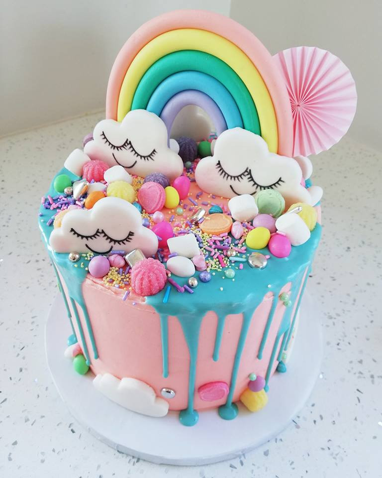 Cloudy Candyland Birthday Cake