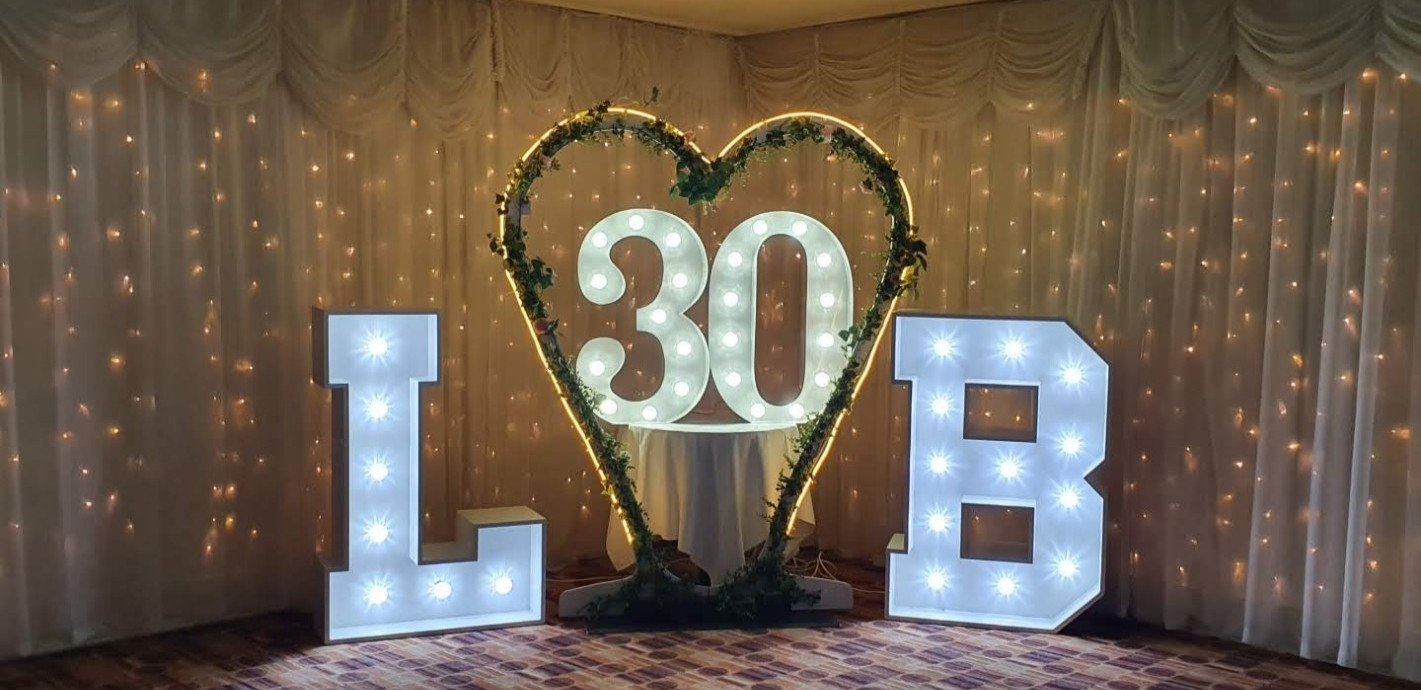 Why not try our initials and numbers for an anniversary?
