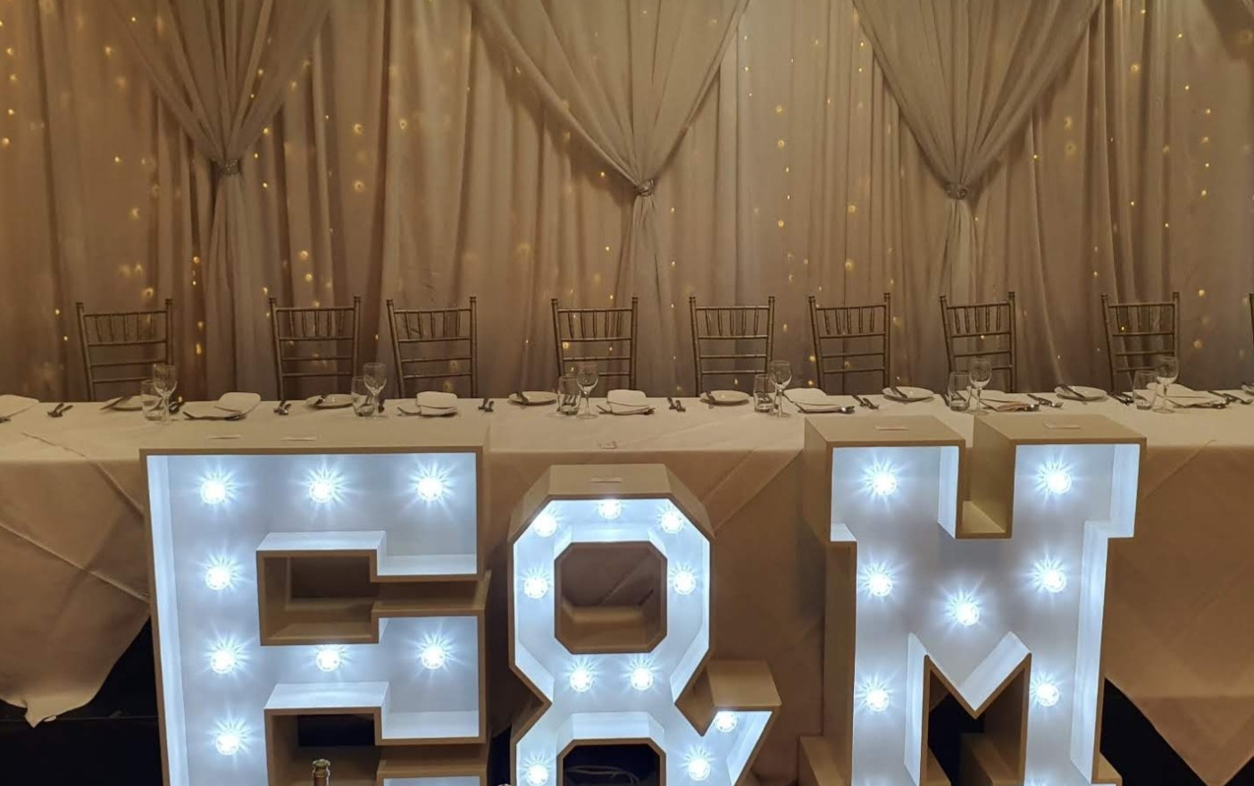 Our initials look fantastic at the top table!