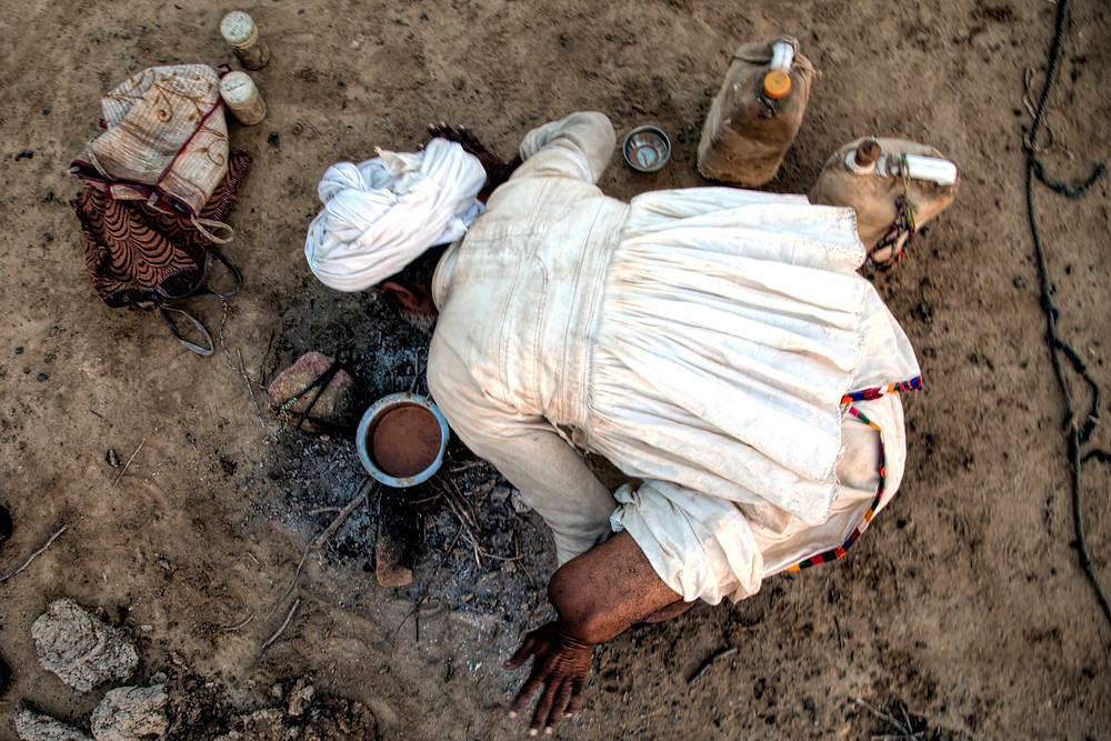 Rabaris man making tea