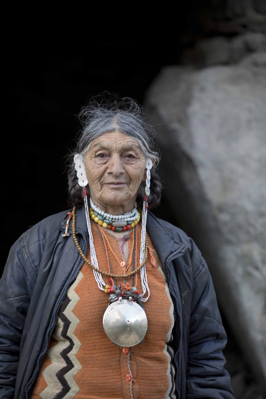 Brokpa woman in traditional jewelery