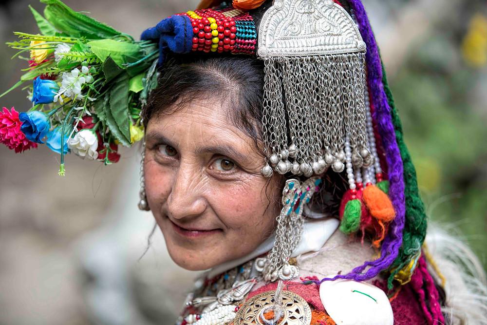 Brokpa woman in headgear