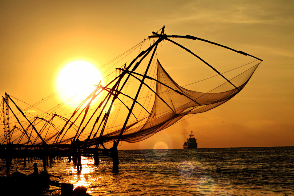 Catching the sun- fishing nets