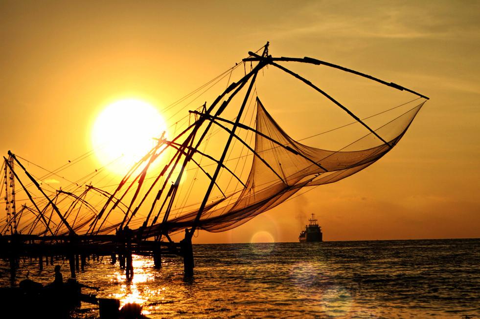 Catching the sun- fishing nets