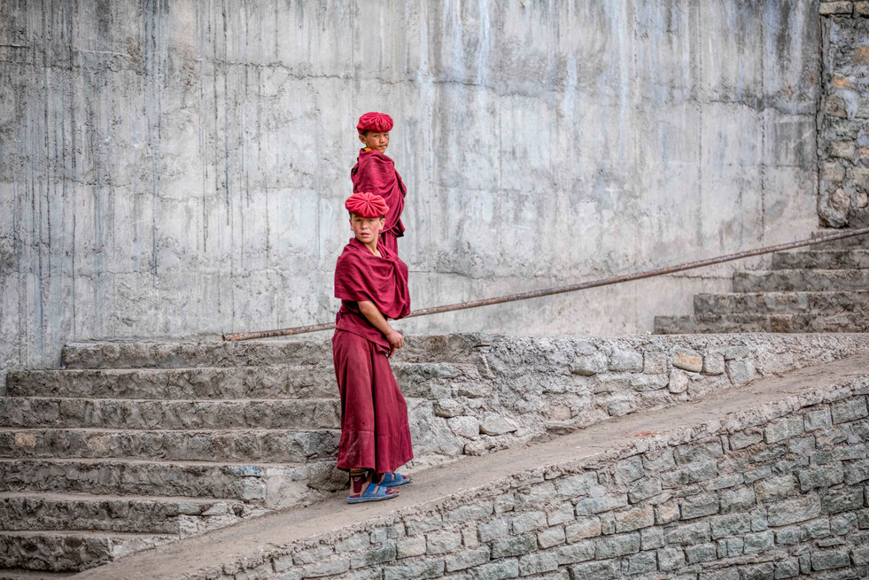 Two monks after their class in Hemis Monastery