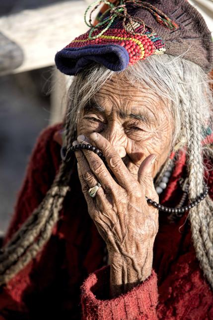 A brokpa woman in traditional attire