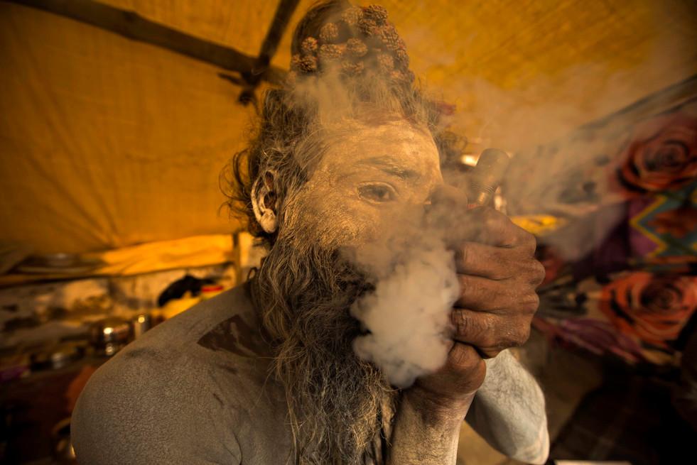 Naga Baba Smoking cannabis